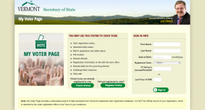 Vermont Secretary of State voter login page