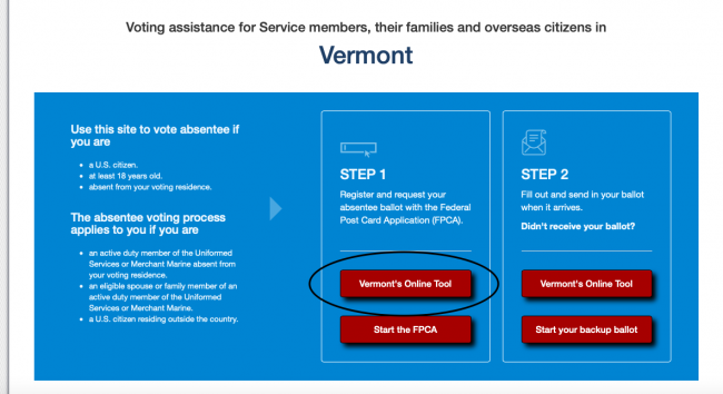 FVAp state pages - Vermont voting tools