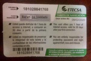 Back of Wi-FI card