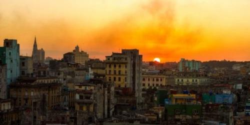 Sunset over Havana Cuba