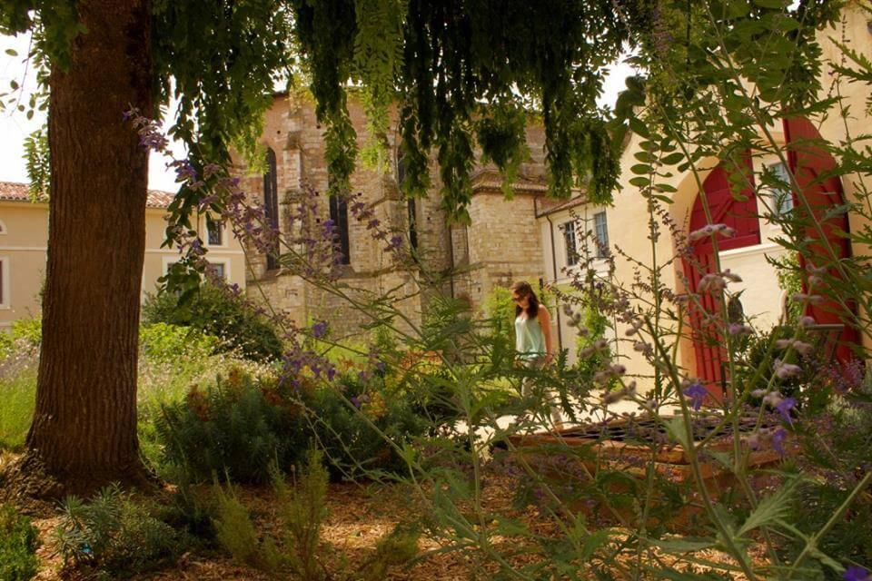Walking through gardens in Moissac, France