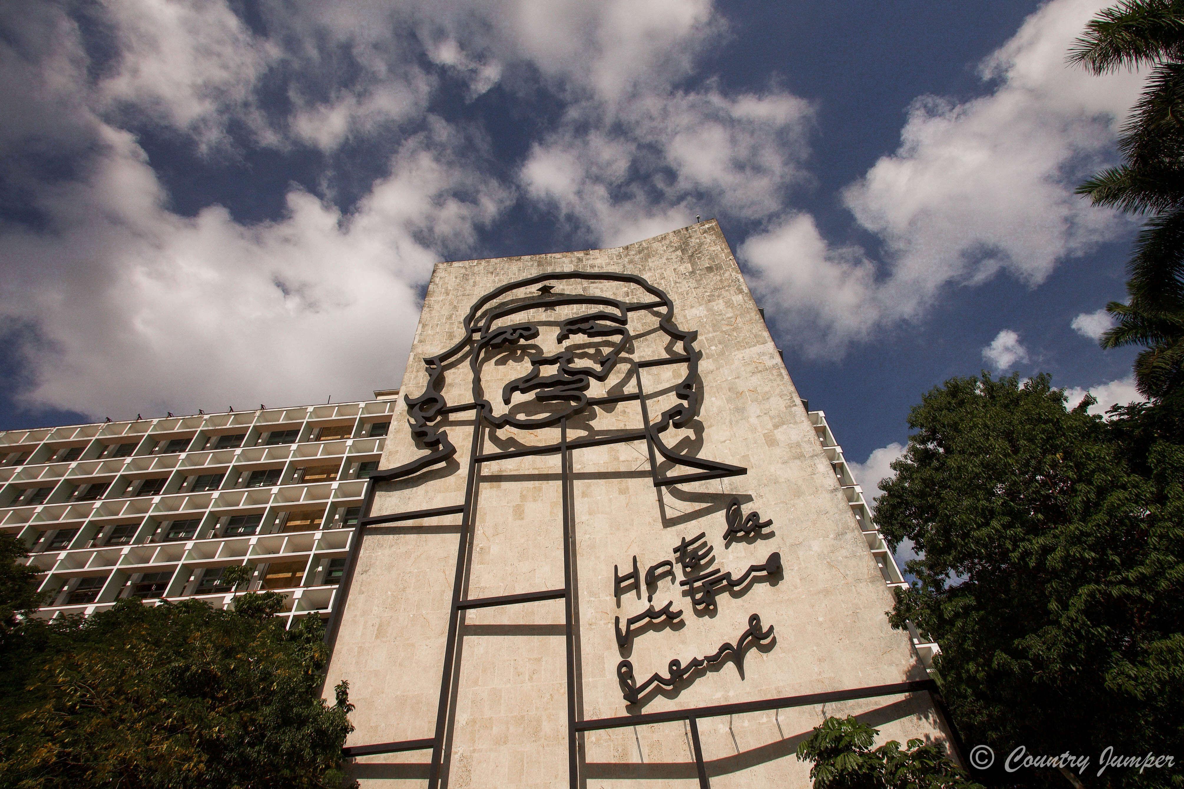 Large Che image in revelation square in Havana
