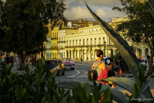 Women walking through the street in Havana