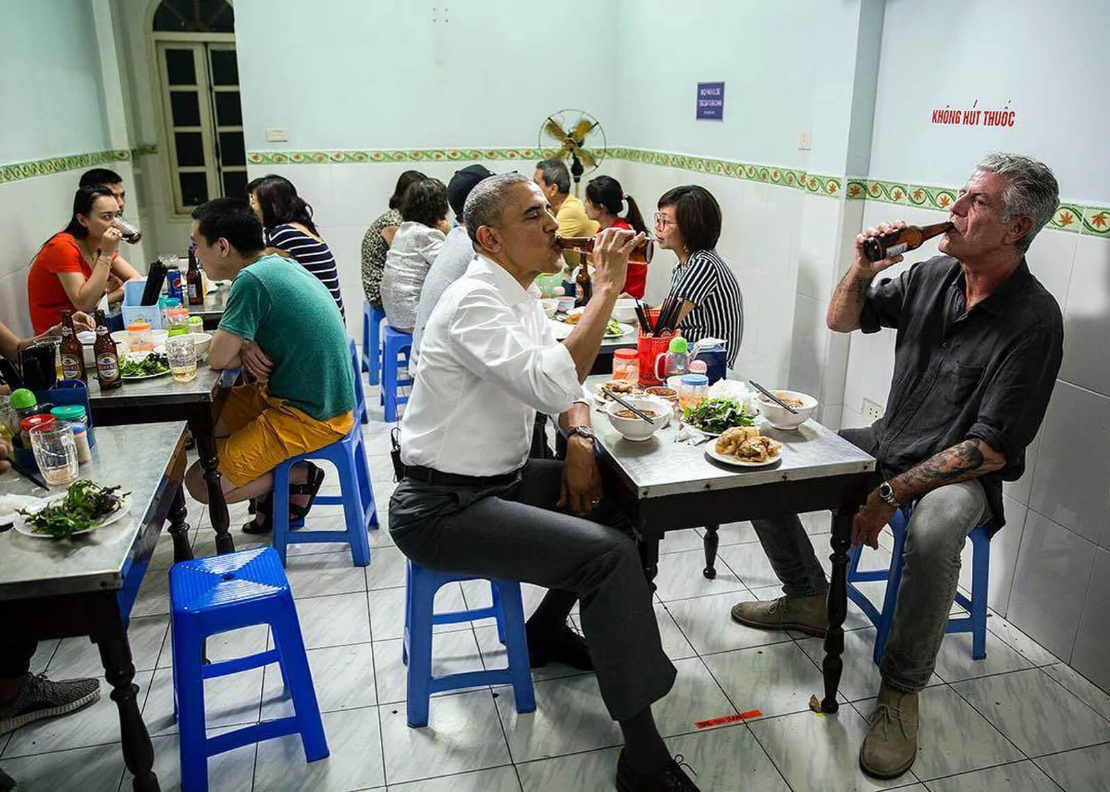 Obama and Bourdain in Vietnam