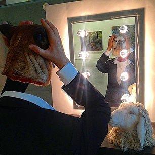 art with sheep and dog head krakow