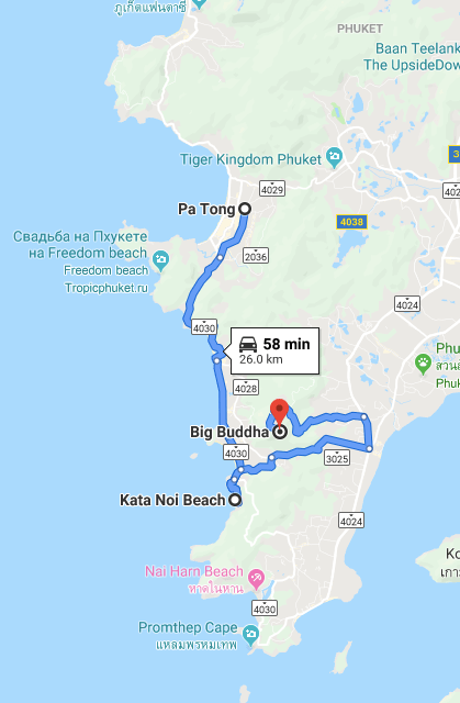 Day trip map around Phuket