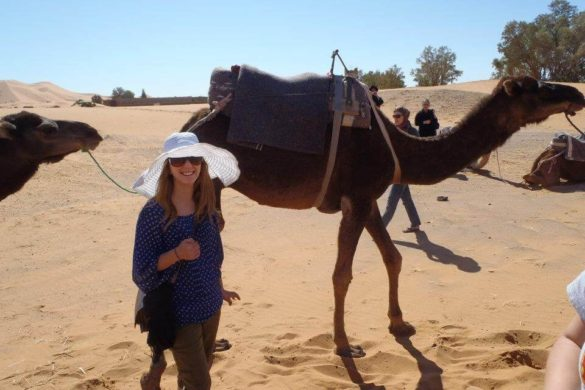 girl in large white hat and blue shirt standing in front of two camels in the desert