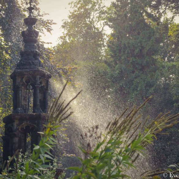 statue on left side of frame with sunlight beam curling through mist of water