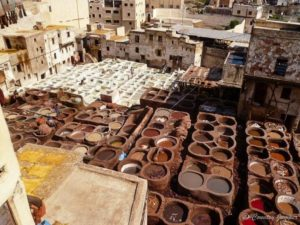 birds eye view of tanneries in fez, Morocco - the country jumper
