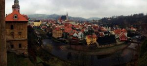 Birdseye view of Český Krumlov in Czechia - river and city and churches - The Country Jumper