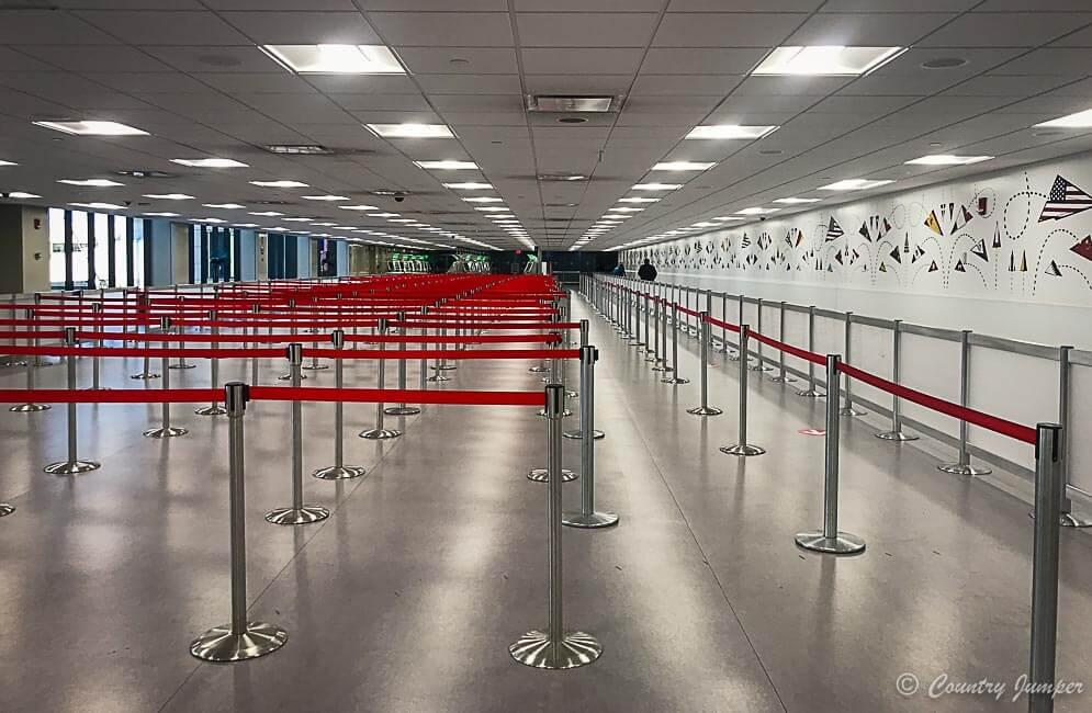 immigration line during coronavirus pandemic