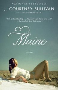 light blue sky with woman in bikini bottom and white shirt looking away laying on beach - Maine book cover