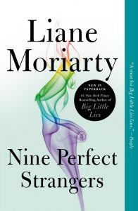 light blue book cover, nine perfect strangers by Liane Moriarty