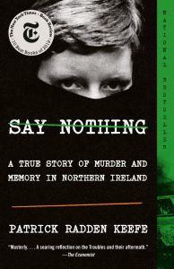 eyes of a boy looking out over covered face - green on side of book cover say nothing