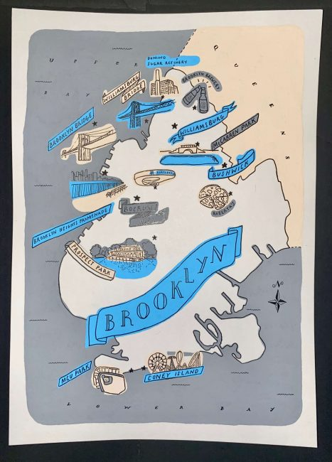blue, gray, and white map of Brooklyn
