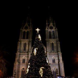 Namesti Miru church in Prague at Christmas time